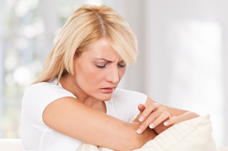 Woman Worrying about Her Skin | Low Iodine Symptoms